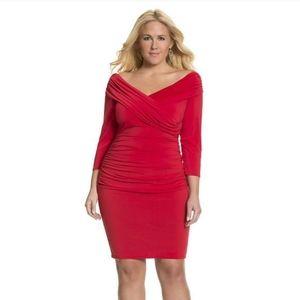Lane Bryant red off shoulder dress